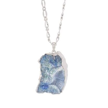 Picture of Blue Shadows - Natural Stone Necklace with Silver Tone Chain and Swarovski Crystal